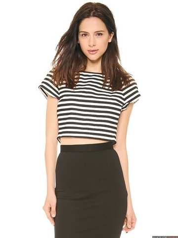 Monochrome striped crop top