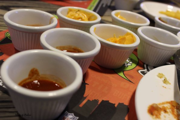 Assortment of sauces at Original wings and rings