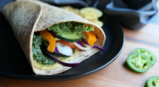 Veggie Wrap with Homemade Jalapeño Hummus - Slice Of Honey Blog