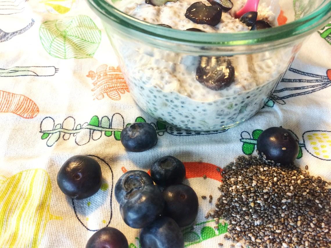 Chia budding til baby. Med blåbær, havregryn, banan og mandelmælk.