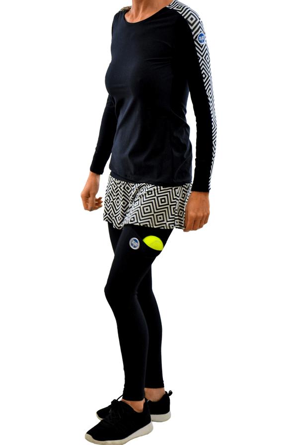 calças gipsy com saia e LS Geométrico