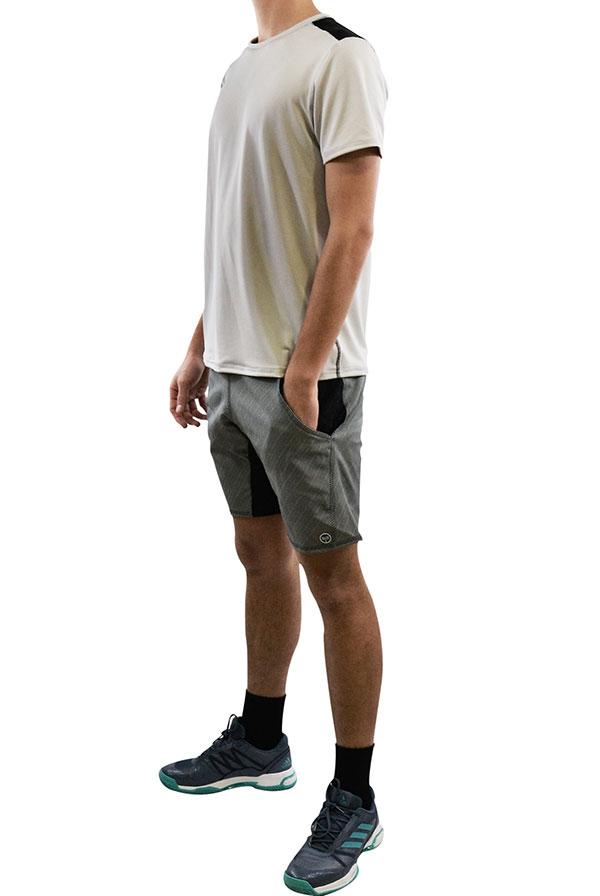T-shirt ACE Horizontal Cinzento Prata, Calção STATUS Riscas Pretos (2)