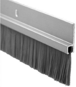 Pemko Door Bottom Sweep, Clear Anodized Aluminum with Gray Nylon Brush insert