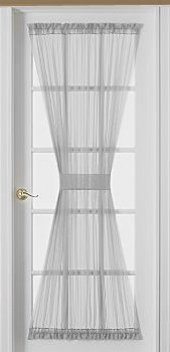 Sheer Voile 72-Inch French Door Curtain Panel, White,door curtain