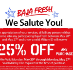 BAJA FRESH 25% Off Military Discount {through May 27}