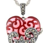 Sterling Silver Oxidized Marcasite And Gemstone Colored Glass Heart Necklace