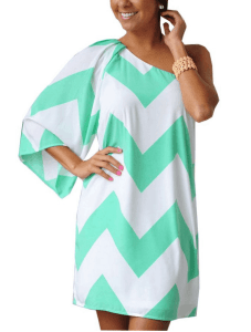 women's chevron print Chiffon tunic dress
