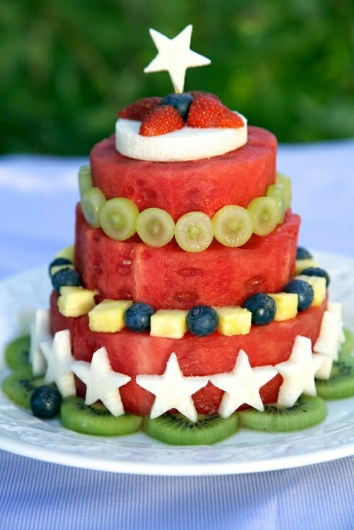 Fresh Fruit Watermelon Cake Carving