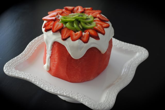 Watermelon Cake using Real Watermelon