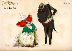 Dinner at the Twits - Mr and Mrs Twit. Design by Samuel Wyer