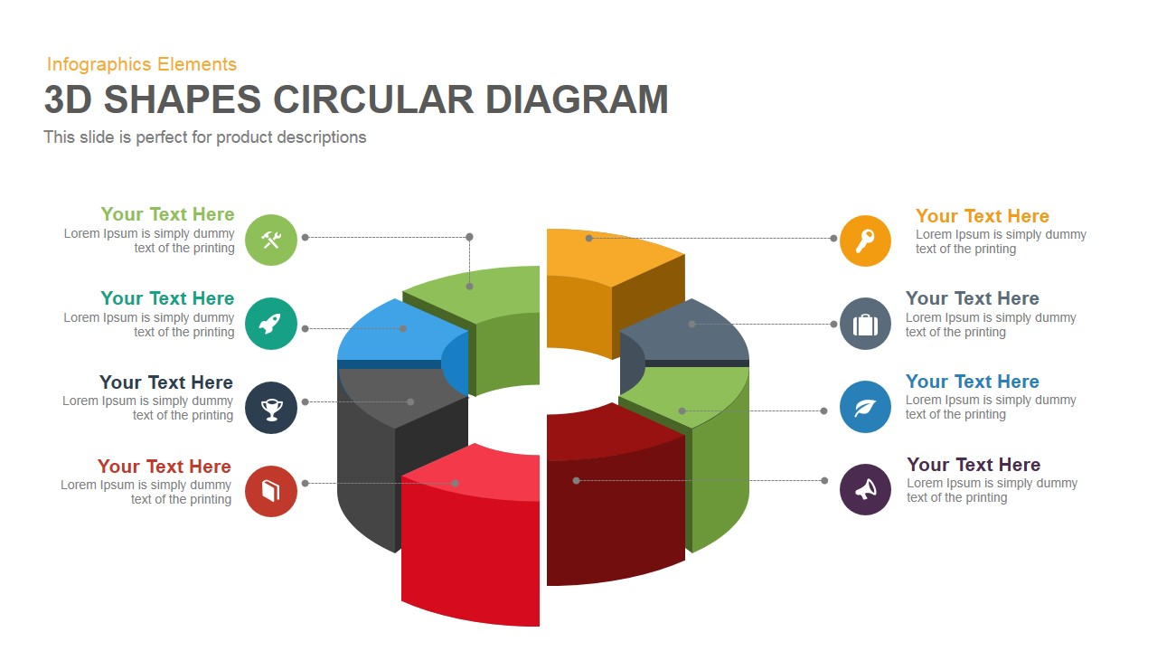 hight resolution of 3d shapes circular diagram powerpoint keynote template