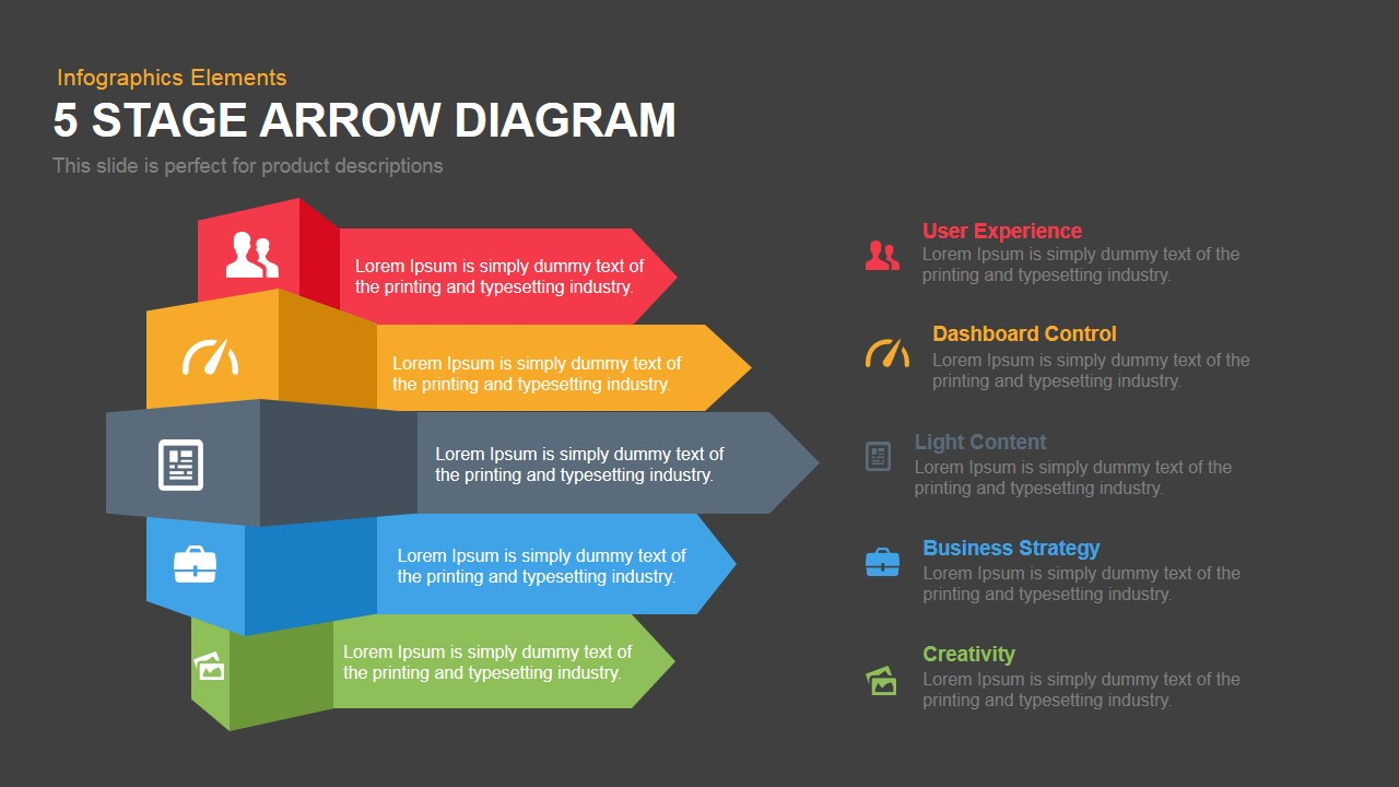 hight resolution of 5 stage arrow diagram powerpoint template and keynote slide