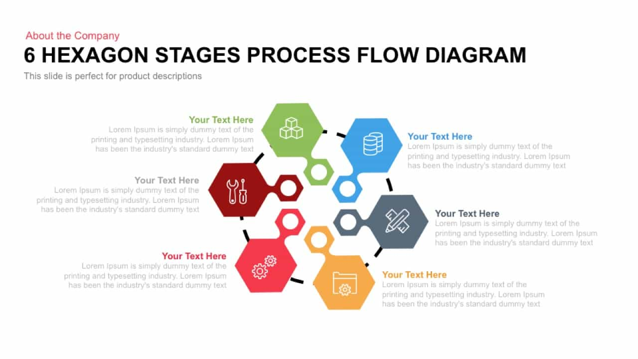 hight resolution of 6 hexagon stages process flow diagram template for powerpoint and keynote