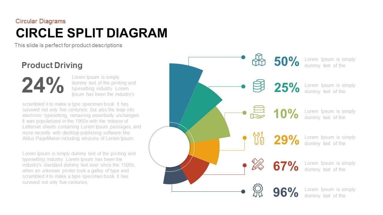 hight resolution of circle split diagram powerpoint template and keynote slide