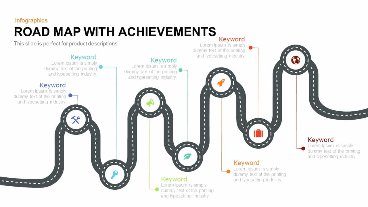 Road Map PowerPoint Template with Achievements and Keynote