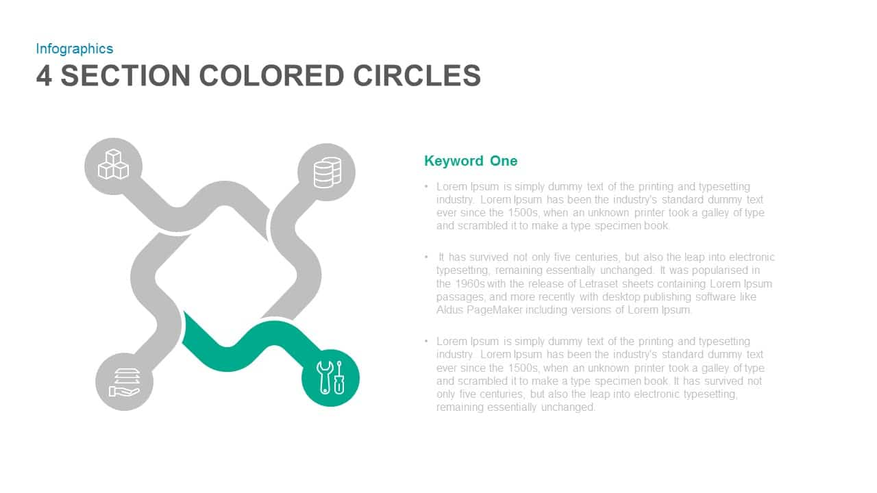 4 Section Colored Circles PowerPoint Template and Keynote