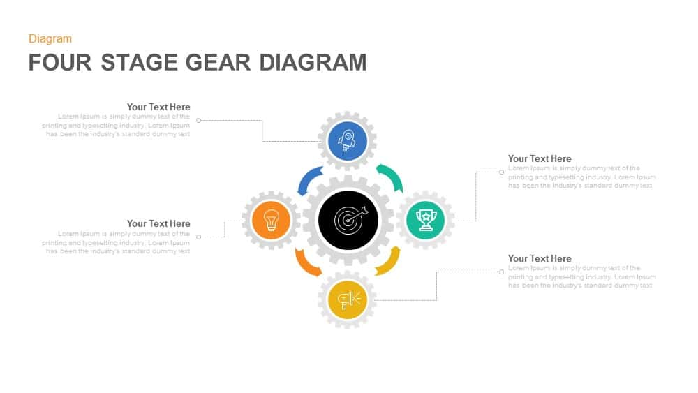 4 Stage Gear Diagram PowerPoint Template and Keynote