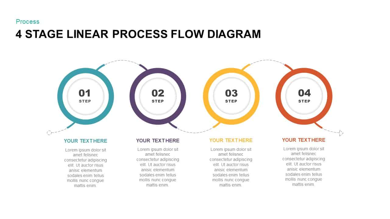 hight resolution of 4 stage linear process flow diagram powerpoint template