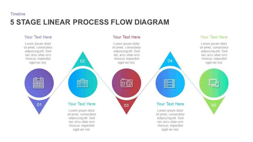medium resolution of 5 stage linear process flow diagram template for powerpoint and keynote