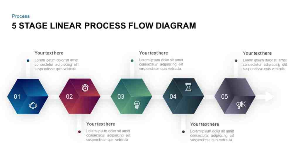 medium resolution of 5 stage linear process flow diagram powerpoint template and keynote