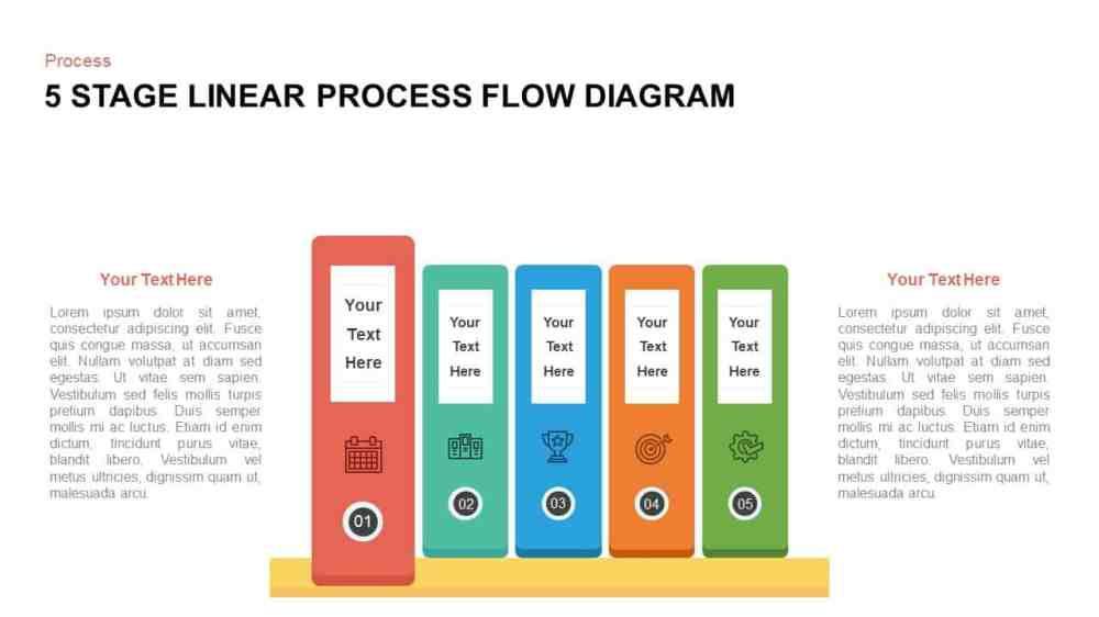 medium resolution of 5 steps linear process flow diagram template for powerpoint and keynote