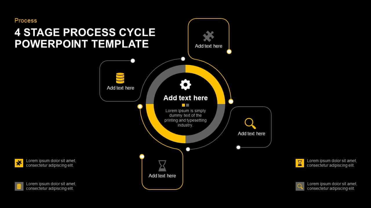hight resolution of 4 stage process cycle template for powerpoint