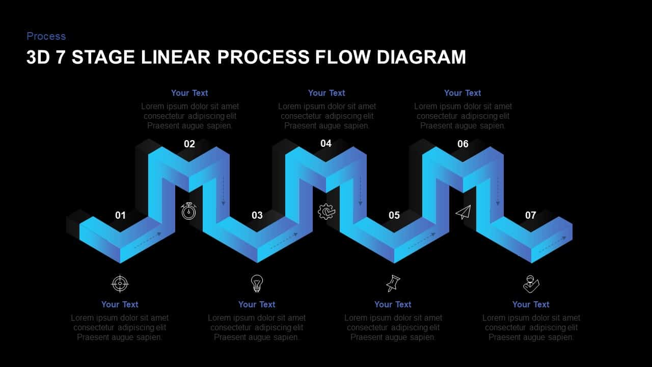 hight resolution of linear 3d process flow diagram powerpoint template
