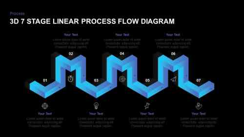 small resolution of linear 3d process flow diagram powerpoint template