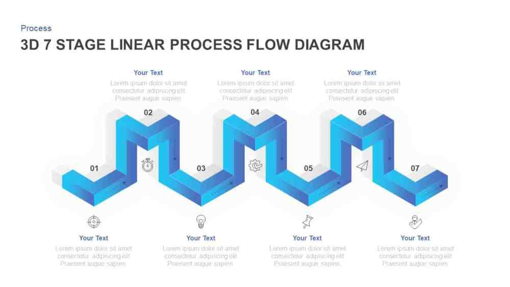 medium resolution of linear 3d process flow diagram for powerpoint