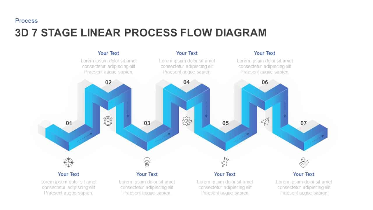 hight resolution of linear 3d process flow diagram for powerpoint