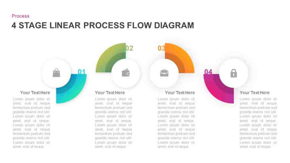 medium resolution of 4 stage linear process flow diagram for powerpoint