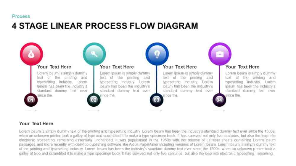 medium resolution of 4 stage linear process flow powerpoint diagram