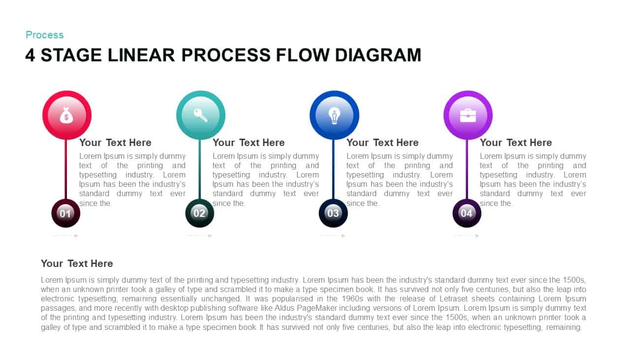 hight resolution of 4 stage linear process flow powerpoint diagram
