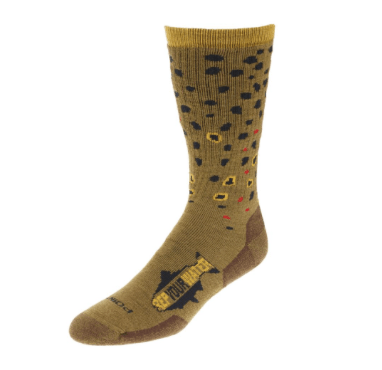 rep your water trout socks brown trout single