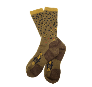 rep your water trout socks brown trout