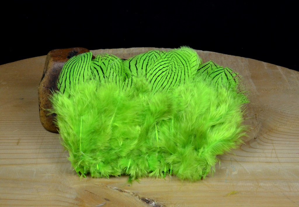 silver pheasant feathers chartreuse