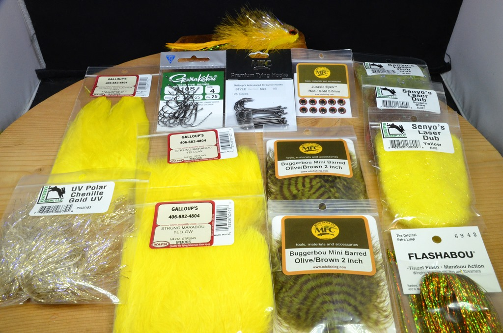 bang tail t&a tying kit olive yellow