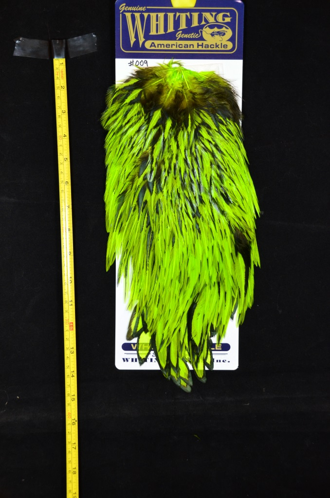 whiting american rooster saddle black laced chartreuse #009