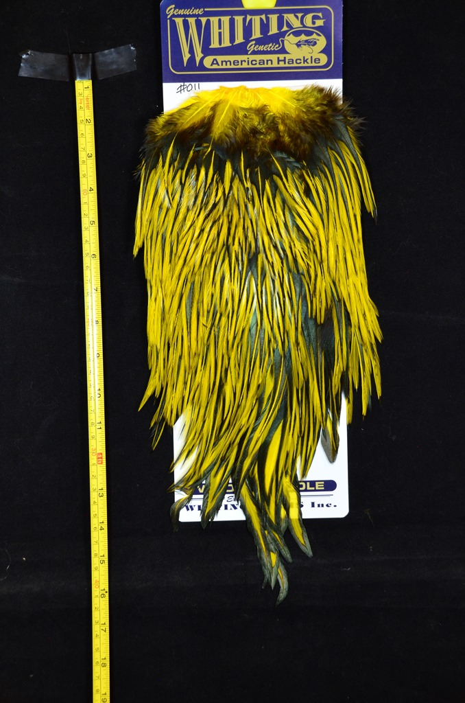 whiting american rooster saddle black laced yellow #011