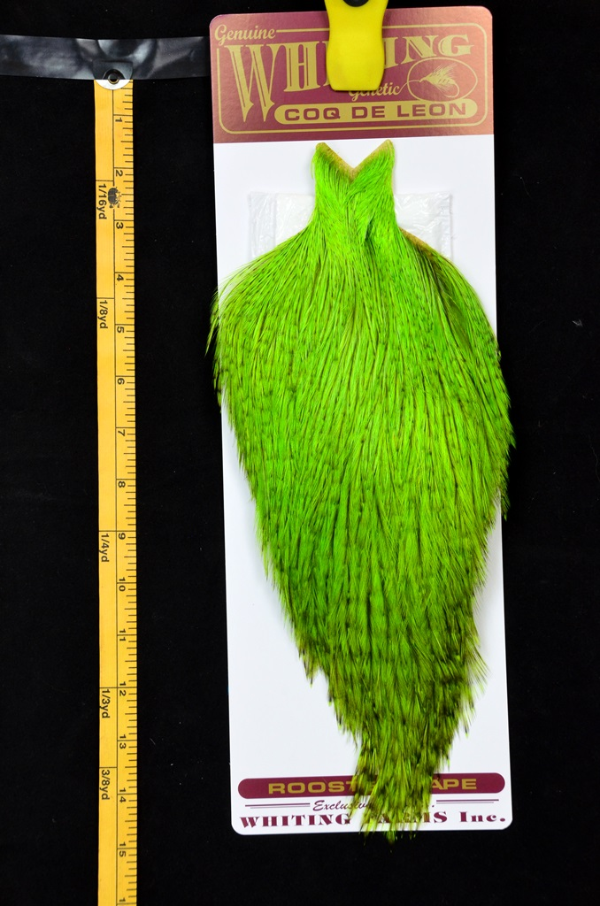 whiting coq de leon cape badger dyed fl green chartreuse