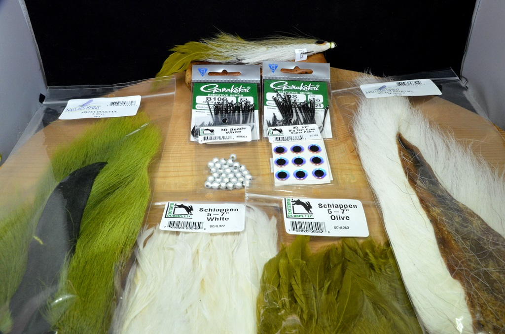 """double deceiver 8"""" tying kit olive white"""