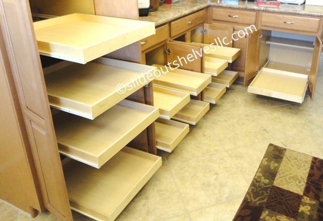 Adding Pull Out Shelves To Kitchen And Bathroom Cabinets