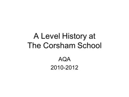 OCR SHP GCSE B British thematic study20% The People's