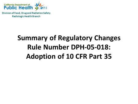 Reformatting Licenses Adoption of 10 CFR 35. January 2011