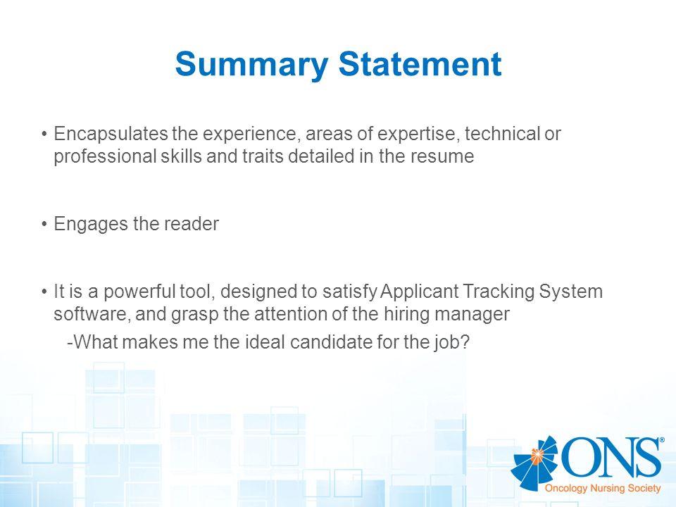 resume professional summary statement