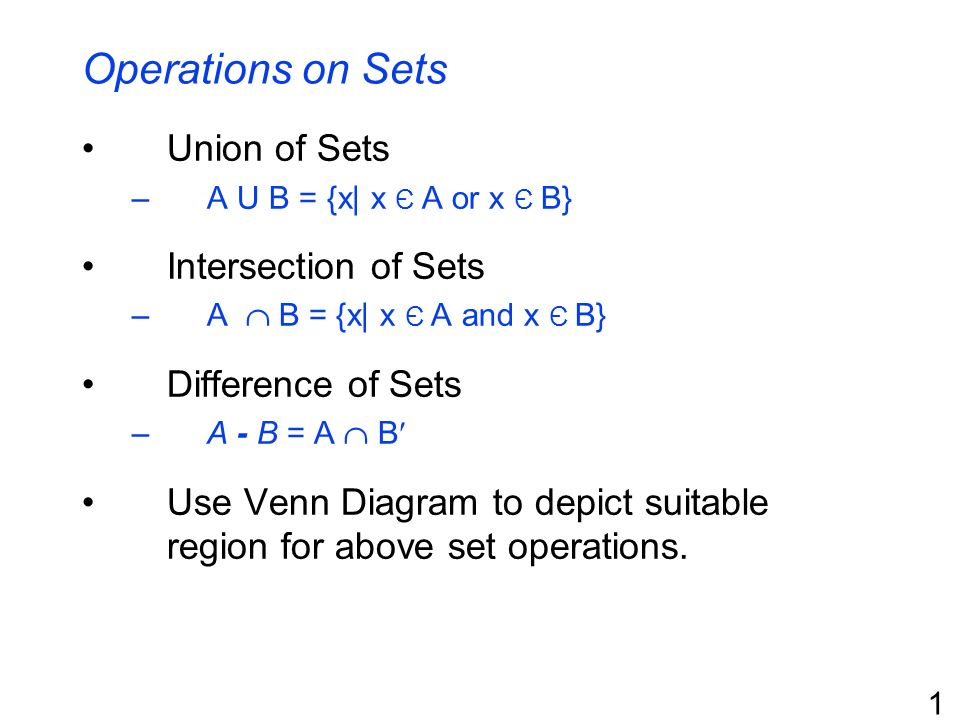 a union b complement venn diagram monkey skeleton operations on sets of intersection - ppt download