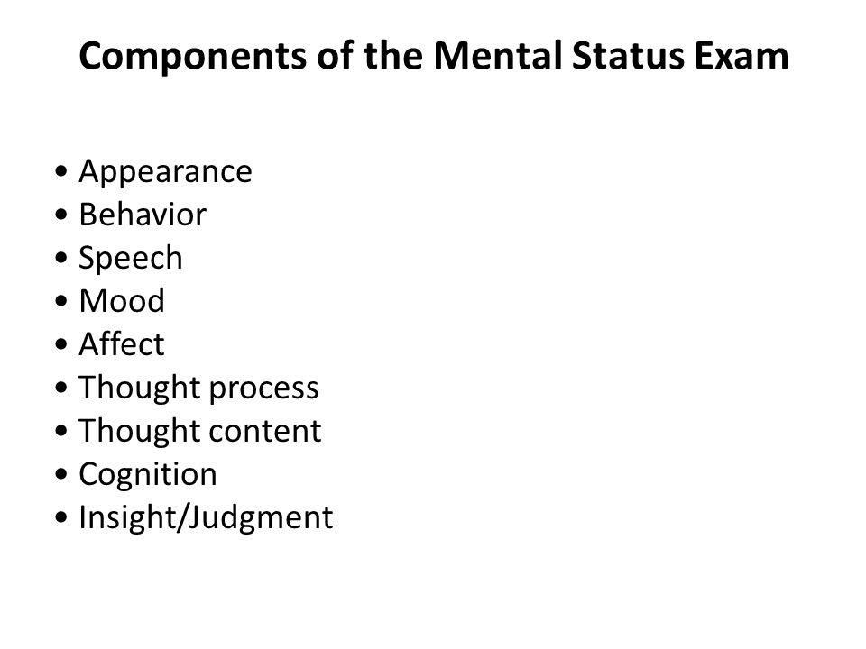 Types Thought Processes Mental Status Exam