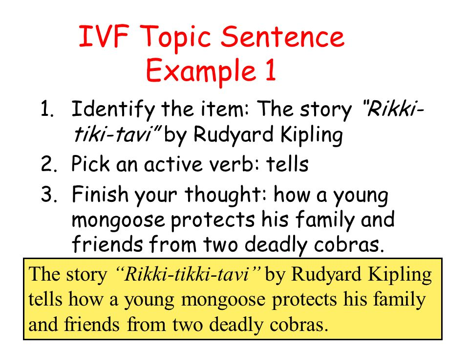 Writing A Summary With A IVF Topic Sentence Ppt Video