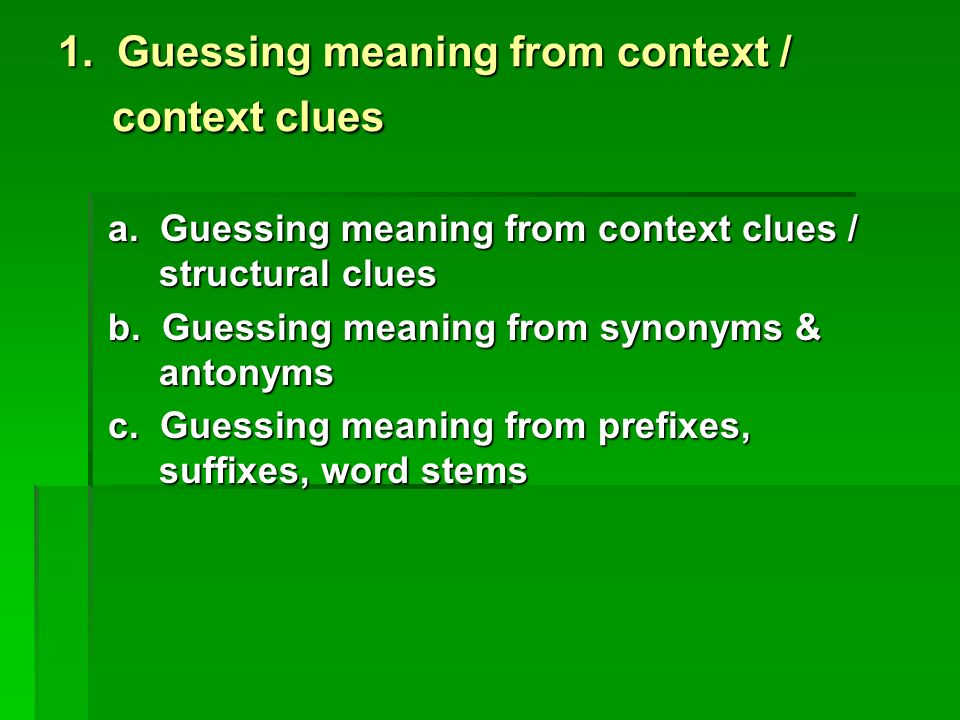 UNIT 5 GUESSING MEANINGS OF UNKNOWN WORDS Ppt Video