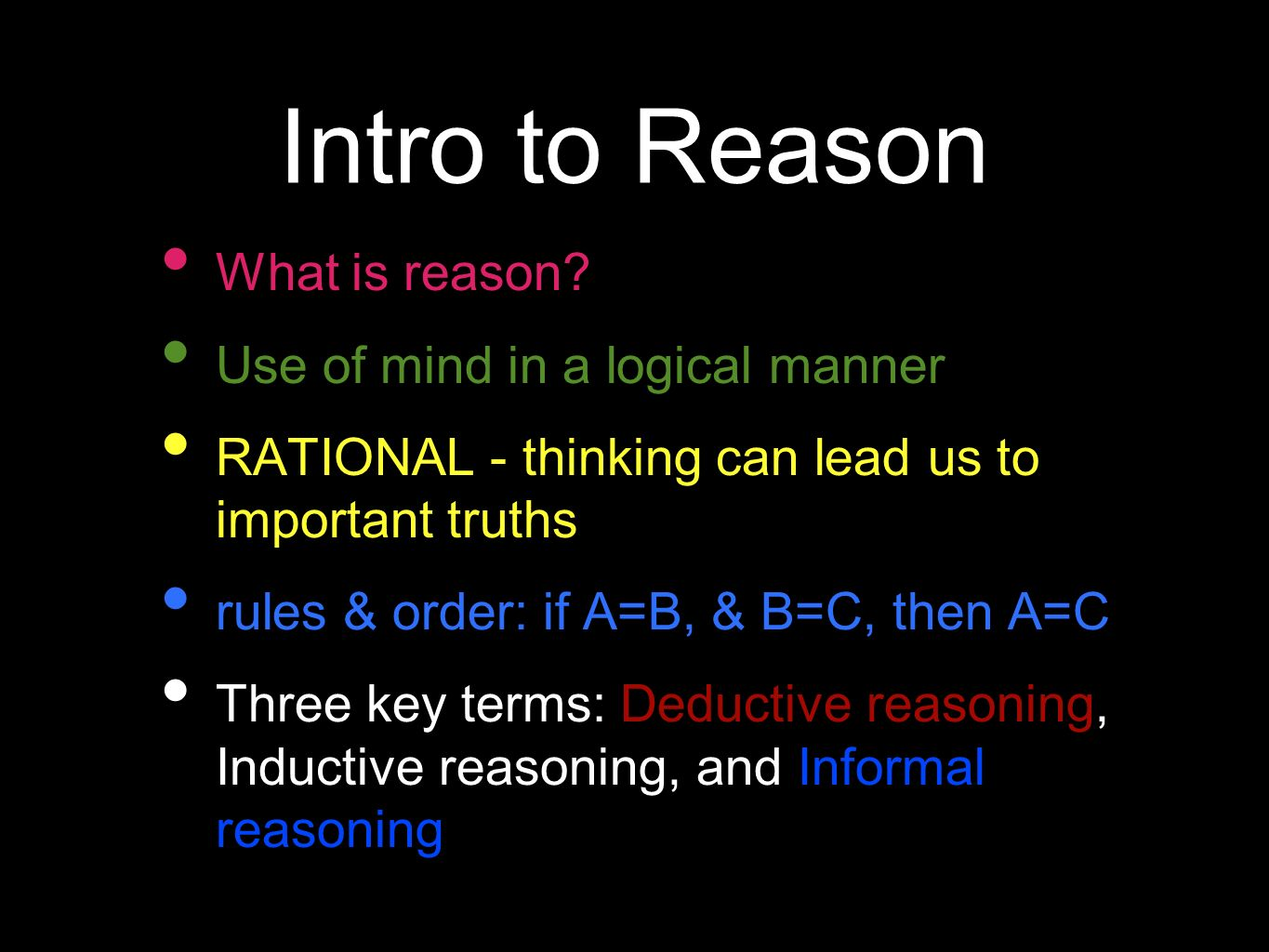 Intro To Reason Knowledge Issues Tok
